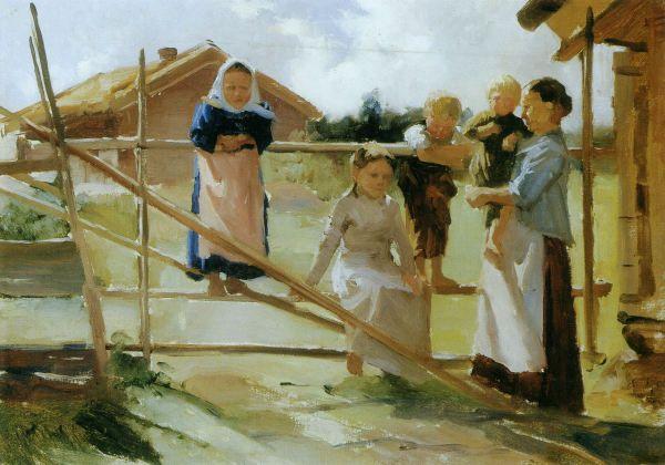 """ALBERT EDELFELT (1854-1905) """"Children at The Gate"""", 1884 - """"Lapsia Veräjällä"""""""