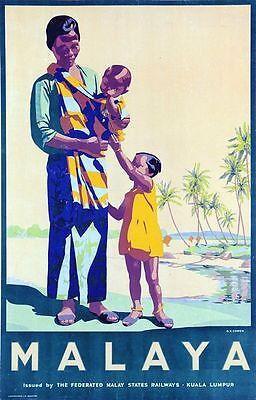 Vintage Malaya Malaysia Tourism Poster A3 Print
