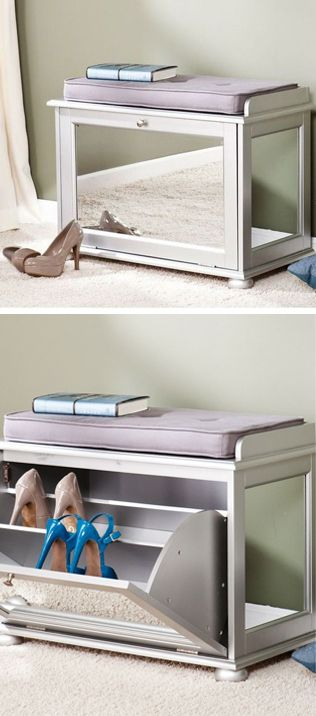 Mirrored shoe bench // perfect for the entry-way #furniture_design