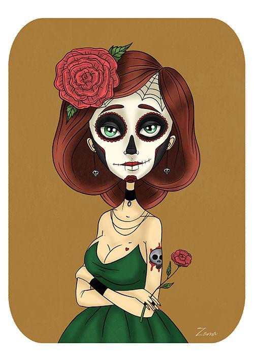 Zama Art on Behance#zama #zamart #illustration #cute #skull #skeleton #procreate #ipencil #diadelosmuertos #art #illustrations #dead #dayofthedead #halloween