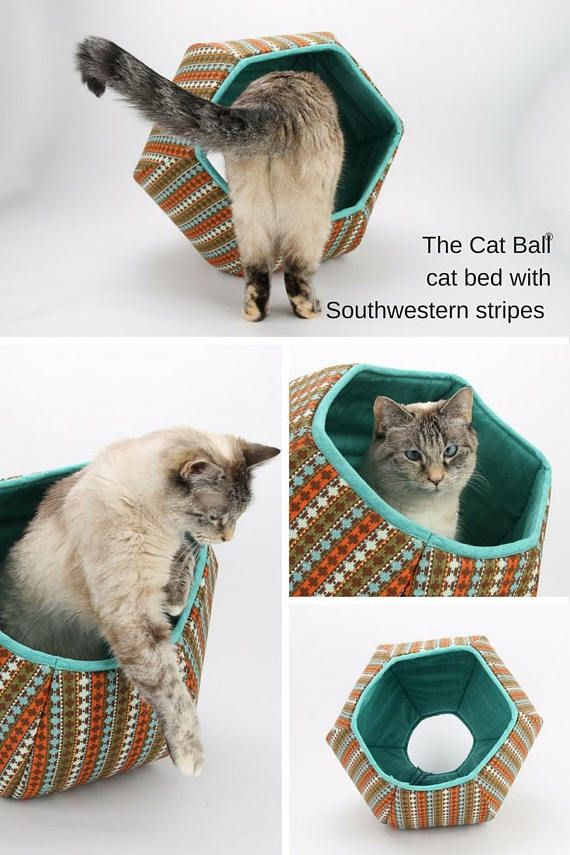 This cat bed is made in a striped Southwestern fabric. Our Cat Ball® cat bed is a modern pet bed with two openings. This is a turquoise and brown cat bed. The shell fabric is a Southwestern influenced stripe, and the lining is a coordinating turquoise. This Cat Ball® cat bed coordinates