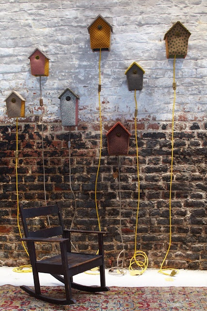 Bird house lamps-I think we will have to make some of these for Reed's room!