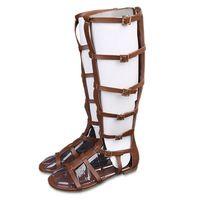 Moda fibbia alti sandali gladiatore delle donne scarpe estive donna tacco piatto
