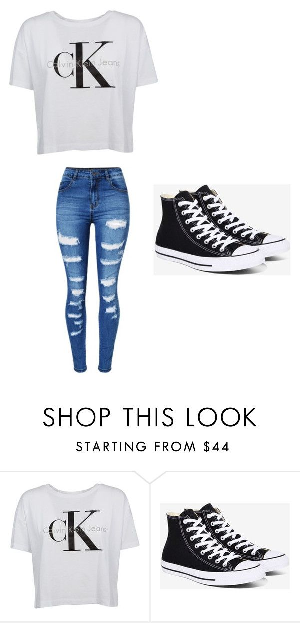 """cute outfit"" by pa6739 on Polyvore featuring Calvin Klein, Converse and WithChic"