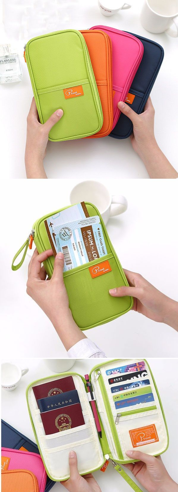 Long Multifuntional Credentials Card Storage Bags Holder Passport Papers Handbag