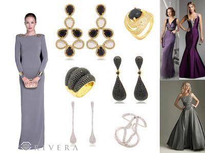 Como combinar vestido chumbo prata roxo com brincos aneis colares acessórios.