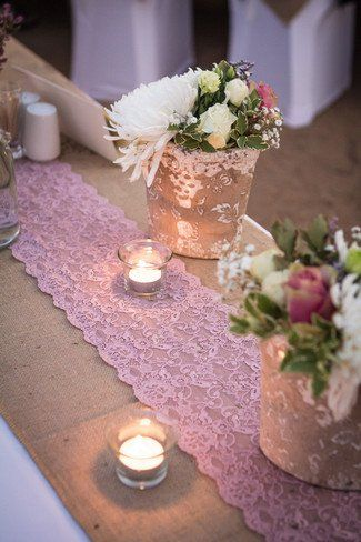 Fabulous pink lace table runner.