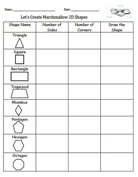 Have students learn defining attributes of shapes by building 2D shapes using marshmallows and tooth picks. Students will use this to document their findings while building 2D shapes.