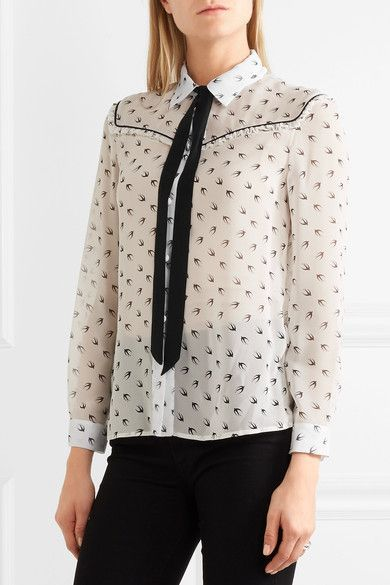 White and black silk-chiffon  Button fastenings through front  100% silk Dry clean Made in Italy
