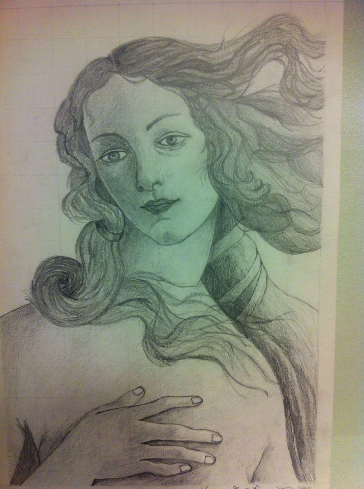 Disegno a matita chiaro scuro Venere di Botticelli