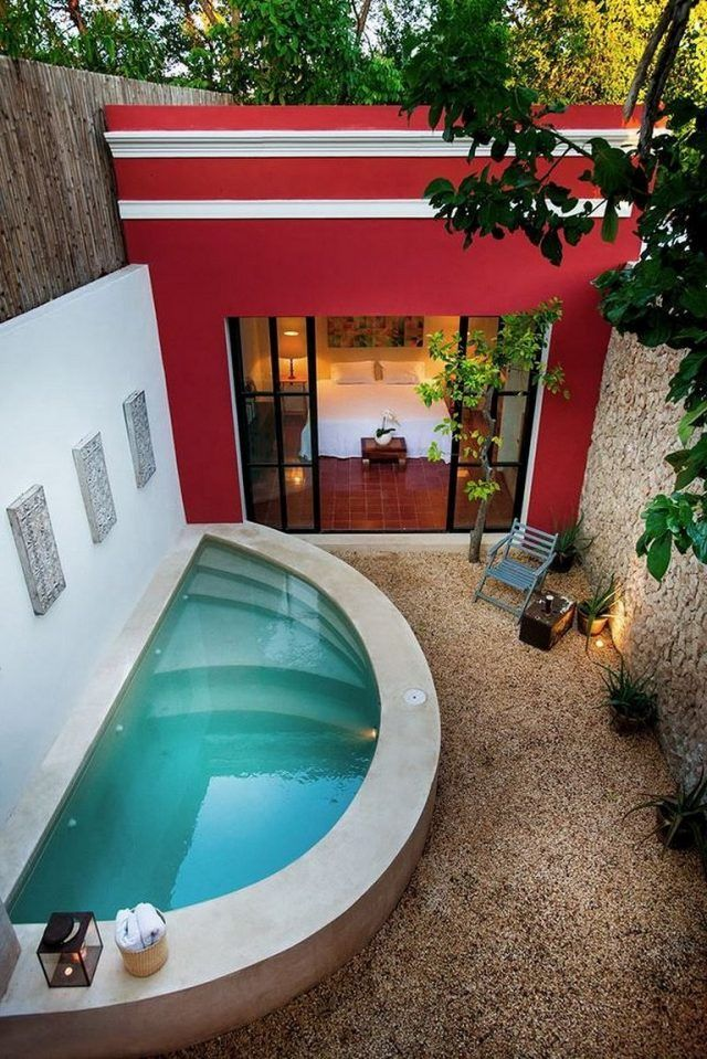 50 Stunning Tropical Home Design With Mini Pool Tropical Homedecor Pool Small Pool Design Backyard Pool Mini Pool