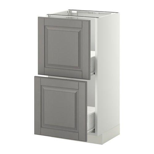 METOD / FÖRVARA Skrinka + 2 zásuvky - biela, Bodbyn šedá, 40x37 cm - IKEA