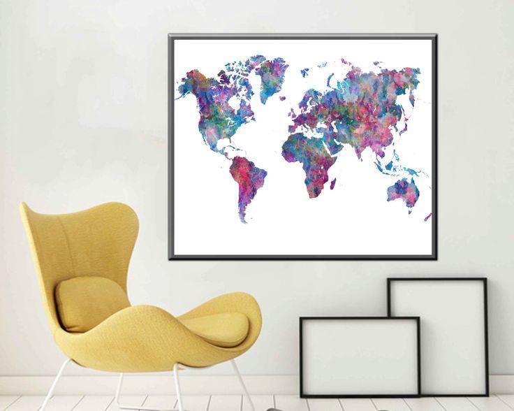 Poster World Map Print World Map Art World map Wall Art Large World Map Poster Large World Map by DesignDstudios on Etsy https://www.etsy.com/listing/242580867/poster-world-map-print-world-map-art