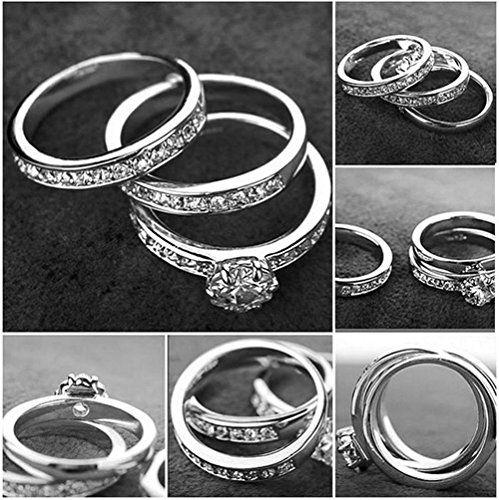Yoursfs moda dell'oro bianco 18K amore anelli Usa cristallo austriaco Trinità sposa strass e anello di fidanzamento: Amazon.it: Gioielli