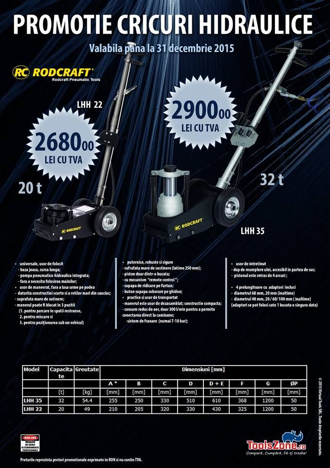 PROMOTIE CRICURI HIFRAULICE RODCRAFT @ ToolsZone - Valabila in limita stocului http://www.toolszone.ro/advanced_search_result.php?keywords=LHH