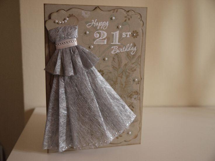Girly 21st Birthday Card, Elegant Dress Form