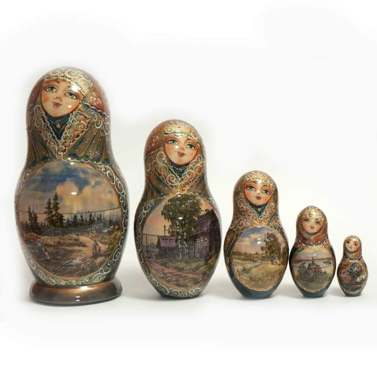 Matryoshka Russian Country Sites is a one-of-a-kind nesting doll. The nesting dolls contains Russian winter scenes which are painted with much details.  The nesting doll is is decorated all around using different techniques and materials.