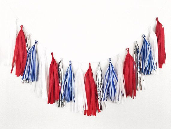 Red White and Blue Tassel Garland - 4th of July Tassel Garland, Labor Day Decor, Patriotic Decor, American Flag, Red White Blue Decor