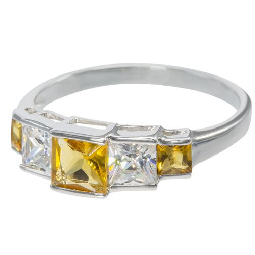 Sterling Silver Alternating Princess Cut Citrine  CZ Ring $29 - purejewels.com.au