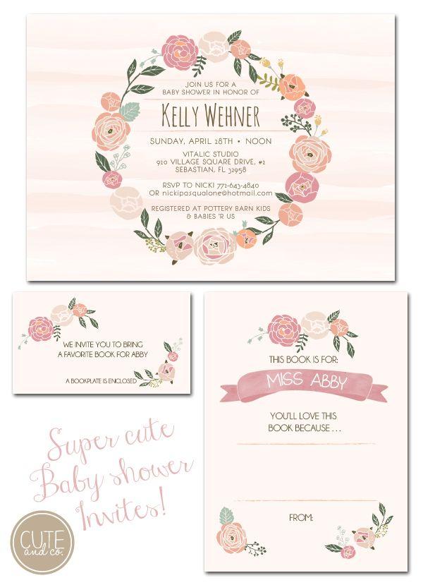 baby shower invites, floral invitations, watercolor invitations, watercolor invites, library shower, book plate, vero beach event designer, ...