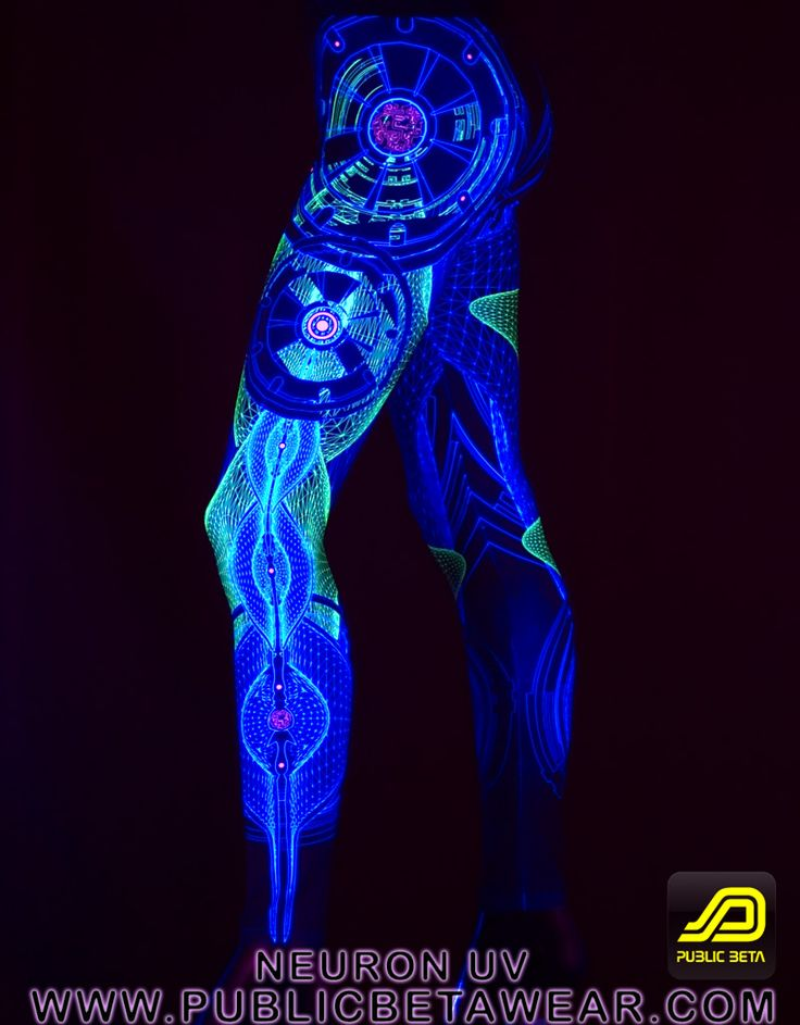 Neuron Leggings D52 by Public Beta Wear  Active Wear for psychedelic festivals and parties. Glows in blacklight. #cyberstyle, #leggings #festivalfashion #blacklightclothing