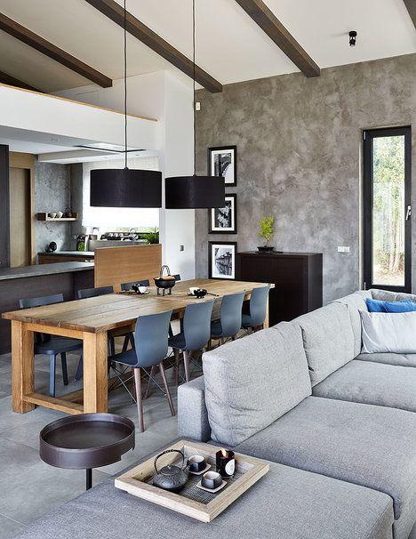 Hlavní obytnou část tvoří obývací pokoj spojený s jídelnou a kuchyní, jednoticím prvkem je velkoformátová dlažba imitující beton; Archiv studia