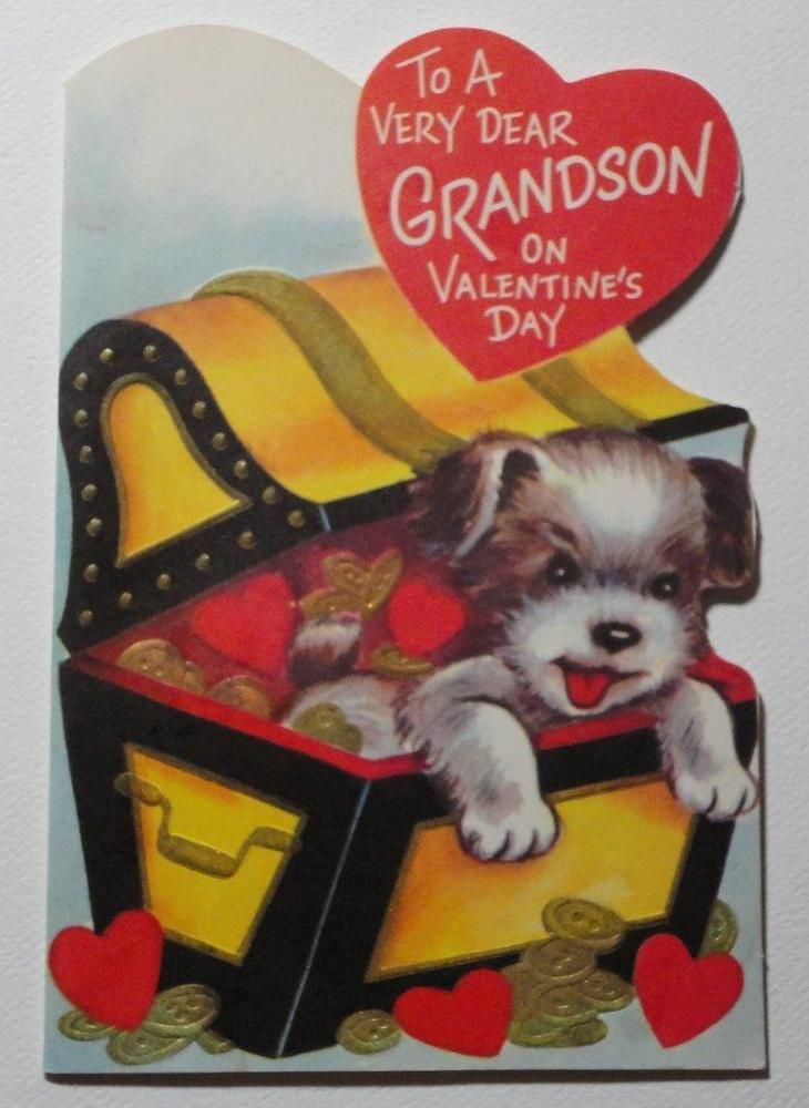 PUPPY DOG Treasure Chest GOLD COINS Vintage GRANDSON Valentine Greeting Card