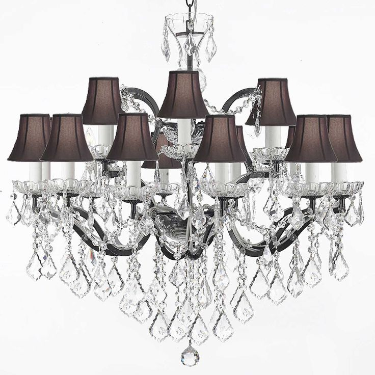 With Black Linen Shades And Crystal Highlights This Chandelier Is The Epitome Of Elegance Its