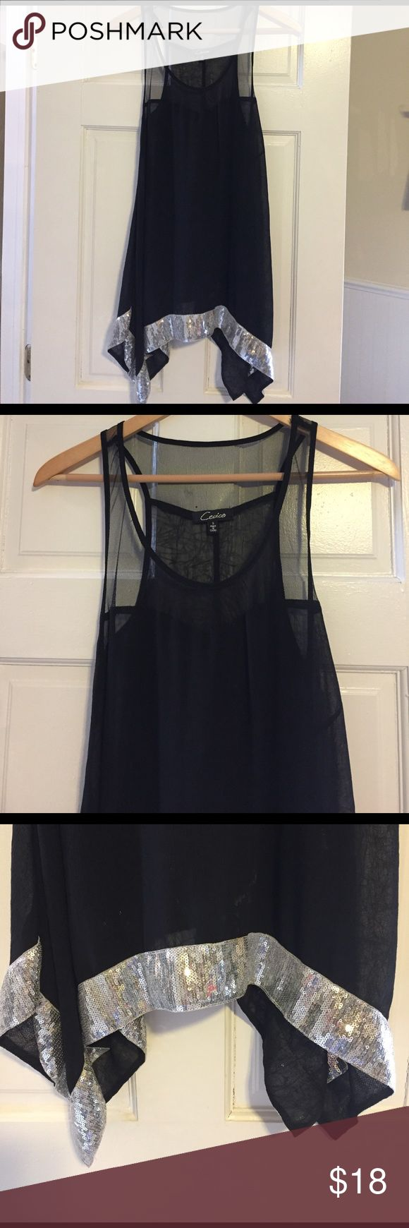 Price cut ❗️Beautiful long black sheer tank top Beautiful long black sheer tank top with silvers sequins trim at bottom. Boutique brand, new condition, size small. Perfect with a pair of leggings and heels or over a bandeau 👠❤️ Tops Tank Tops