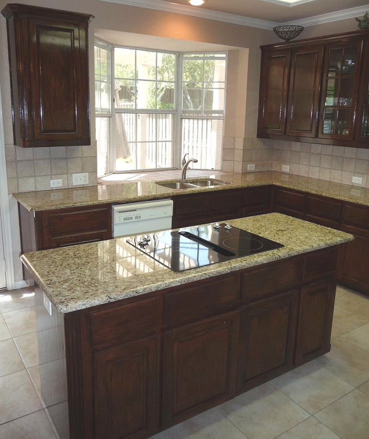 Kitchen With Light Maple Cabinets And Dark Countertops: Giallo Ornamental Granite Countertops (95), Giallo