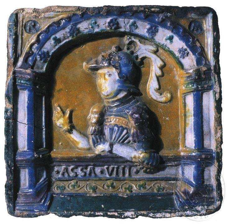 """Král Aza. Nápis: """".ASA. VIII."""" ,ve cviklech monogramy """"R"""" a """"M""""."""