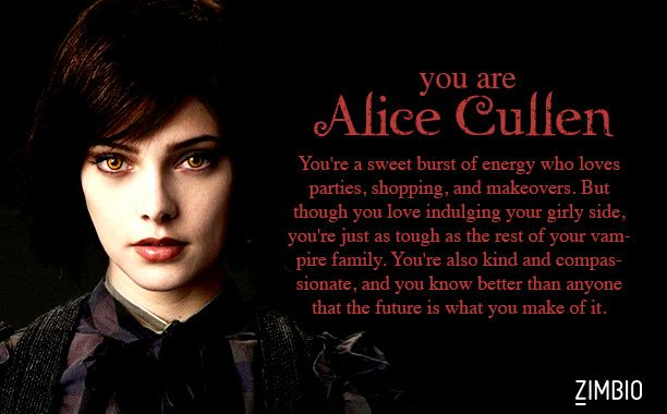 I took Zimbio's 'Twilight' quiz and I'm Alice Cullen! Who are you? #ZimbioQuiznull - Quiz