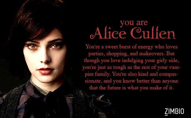 I took Zimbio's 'Twilight' quiz and I'm Alice Cullen! Who are you? #ZimbioQuiznull - Quiz