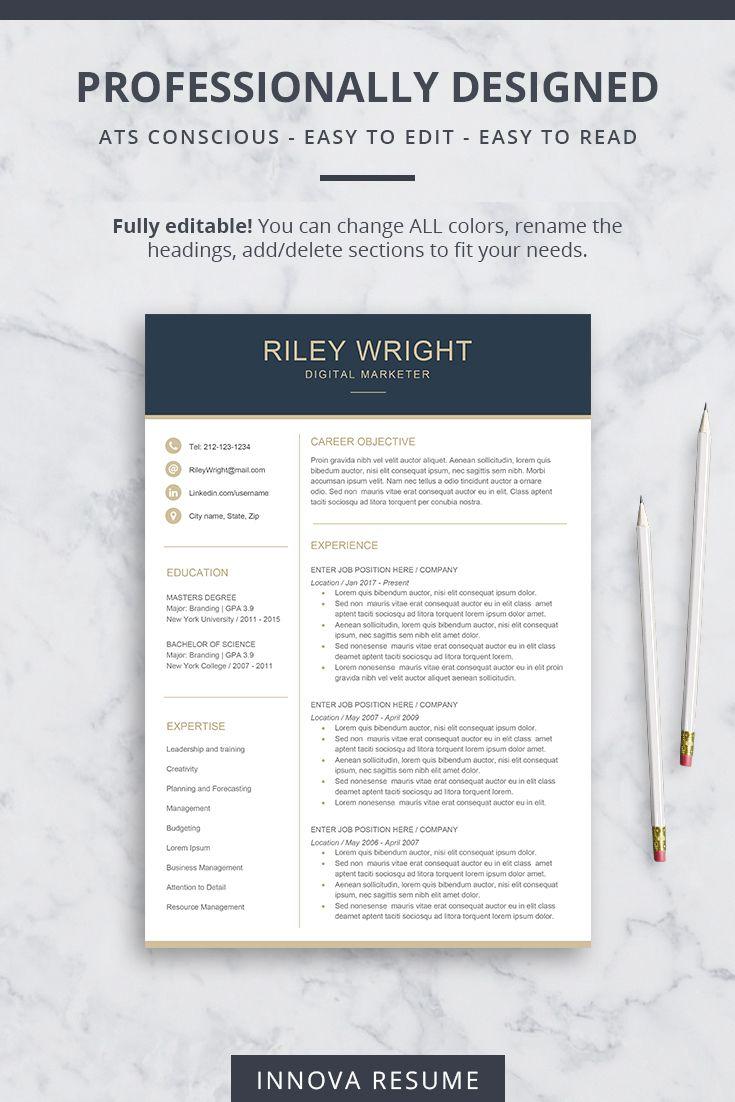 Modern Resume Template For Microsoft Word Innova Resume Modern Resume Templates Modern Resume Template Resume Template Modern Resume