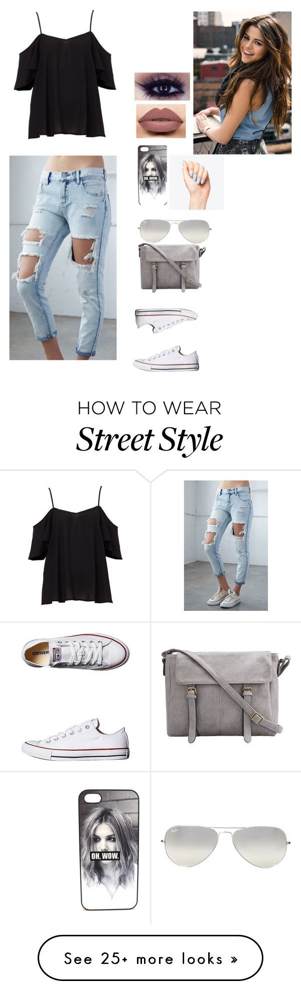 """Street style"" by dontstopdreamim on Polyvore featuring Bullhead Denim Co., Converse, Ray-Ban and adidas NEO"
