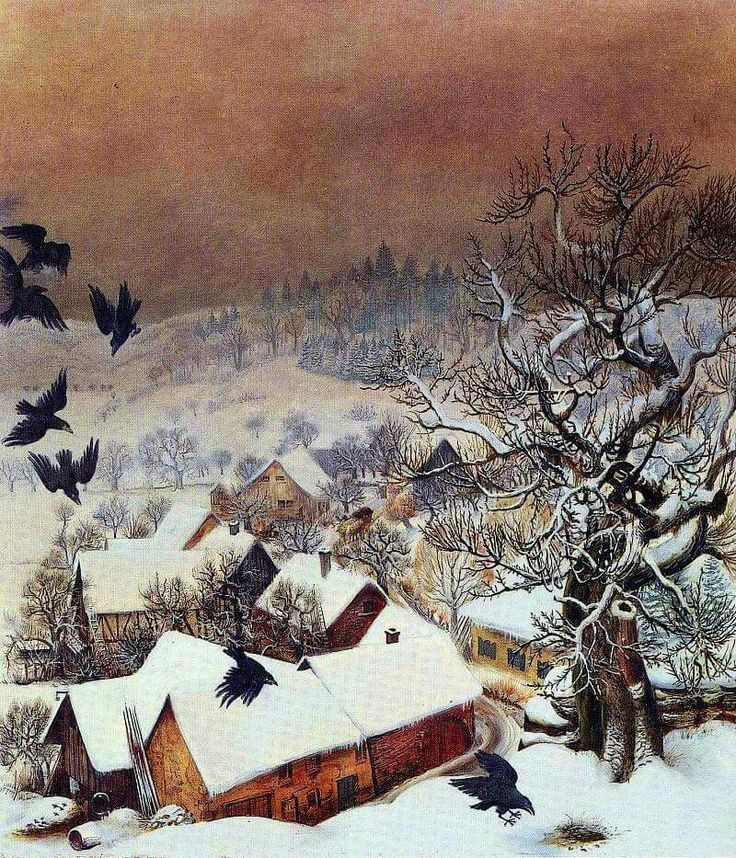 Dix, Otto (German, 1891-1969) - Randegg in the Snow with Ravens - 1935