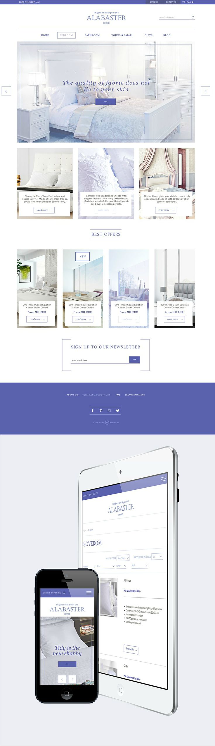"""Alabster is the luxury home linen & bedding sets retailer from Norway.  With this project, the design focus was very much on emphasizing """"Parisian Chic & Scandinavian Comfort"""". We kept user interface slick, clean and simple, so minimalist was the guiding concept for Alabaster.  The site was built with Magento and is fully responsive, conforming perfectly to all types of screens, from desktop view to tables and smartphones. www.alabaster.no/"""