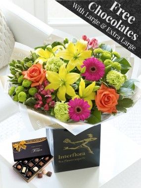 Vibrant Hand-tied Bouquet - Free Chocolates on Upgrade