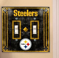 "Pittsburgh Steelers Art Glass Double Switch Cover, 5¼"" x 5½"".  $14.95 ea at Shop.Steelers.com"