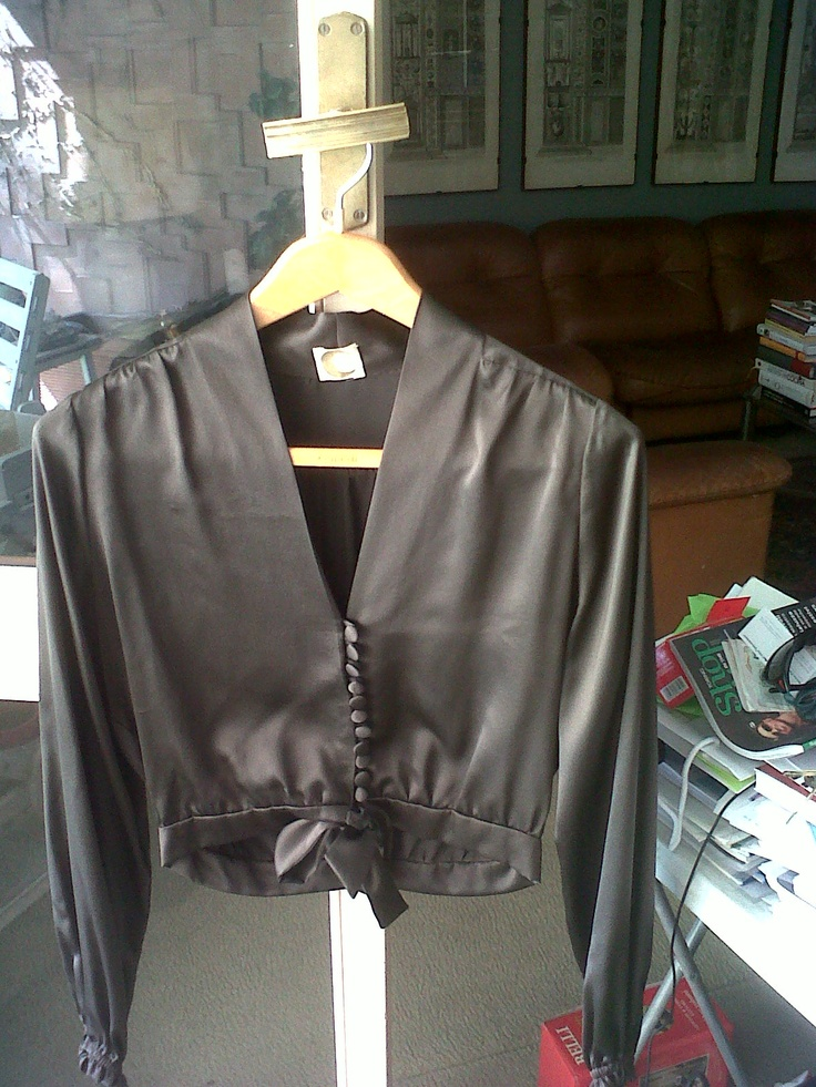 Very elegant 70s brown chestnut taffeta chemisette with small buttons on front and coulisse and bow on waist