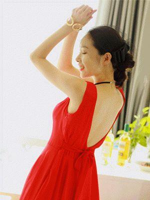 Korea feminine clothing Store [SOIR] One Piece Tango / Size : FREE / Price : 45.34 USD #korea #fashion #style #fashionshop #soir #feminine #tango #dress #onepiece #red