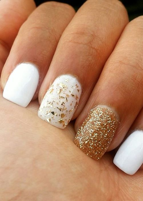 white and gold acrylic nails