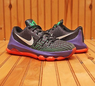 2015 Nike KD 8 VIII Size 4.5Y-Black White Green Purple Hyper Orange-