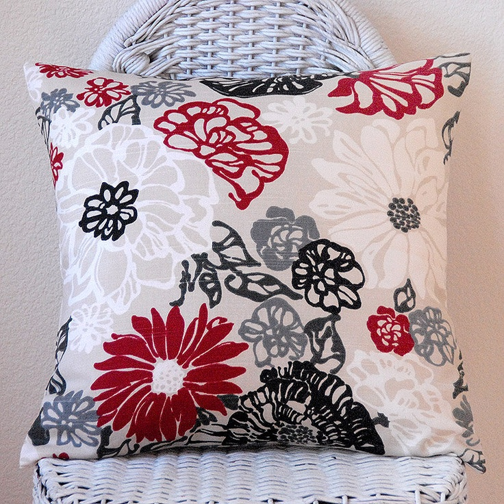 Red Black White on Light Tan Natural Background 16x16 by PillowMio, $26.00