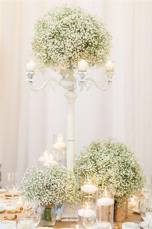 rustic wedding ideas - white baby breath wedding centerpiece ideas