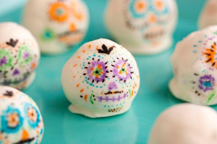Tres Leches Sugar Skull Cake Balls via Brit + Co.