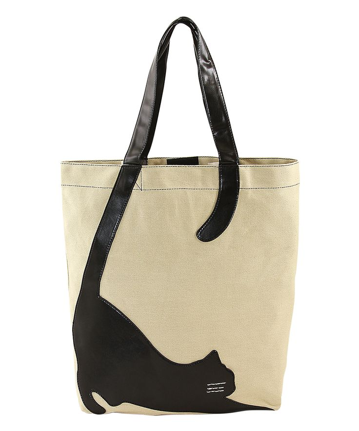 Sleepyville Critters Beige Stretching Cat Tote | zulily