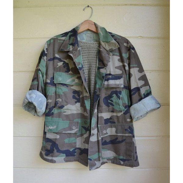 Vintage Camo Jacket Army Camo Shirt Arkansas Razorbacks Army Camo... ($38) via Polyvore