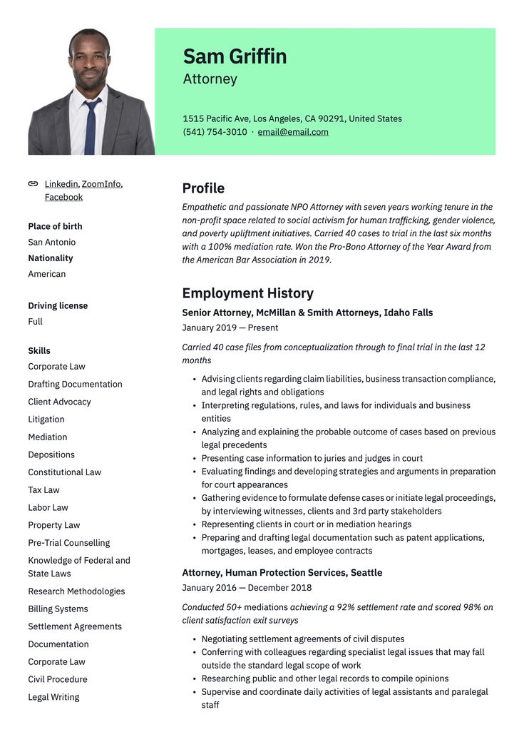 Attorney resume example in 2020 resume examples guided