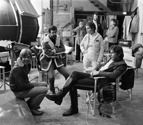 Mark Hamill, George Lucas, Carrie Fisher and Harrison Ford  on the set of The Empire Strikes Back.